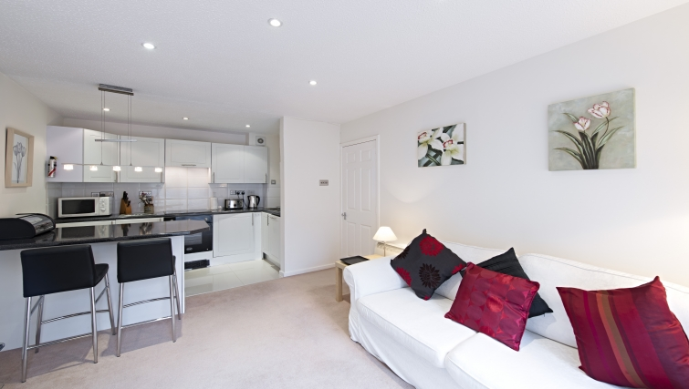 Delightful living area in Chatsworth Court Apartment