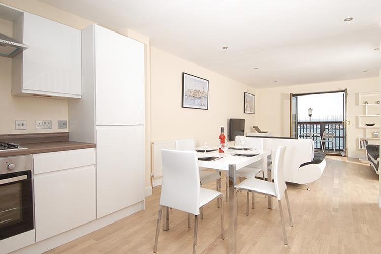 Kitchen diner at Freemans Wharf Apartment