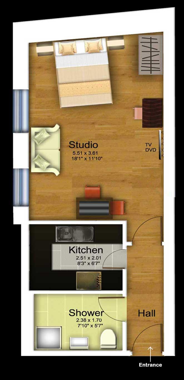 Large studio floorplan at 1 Harrington Gardens