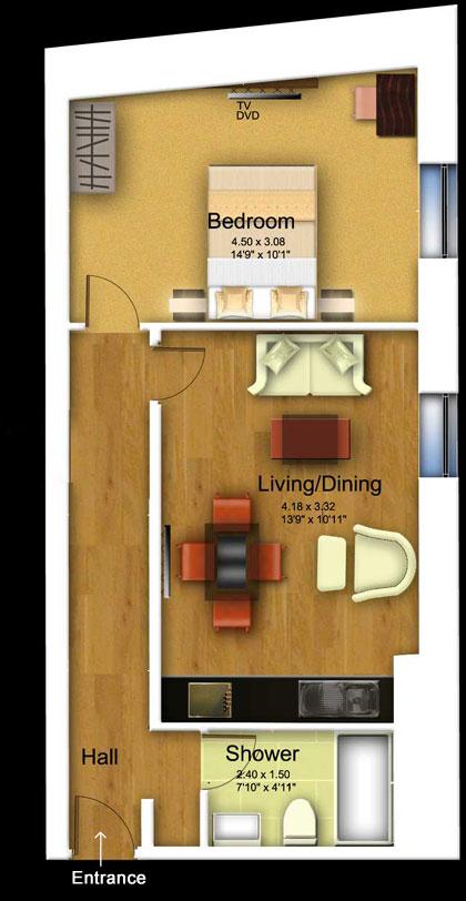 1 bed floorplan at 1 Harrington Gardens