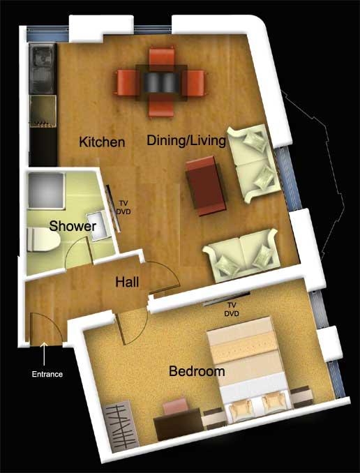 Deluxe 1 bed floorplan at 1 Harrington Gardens