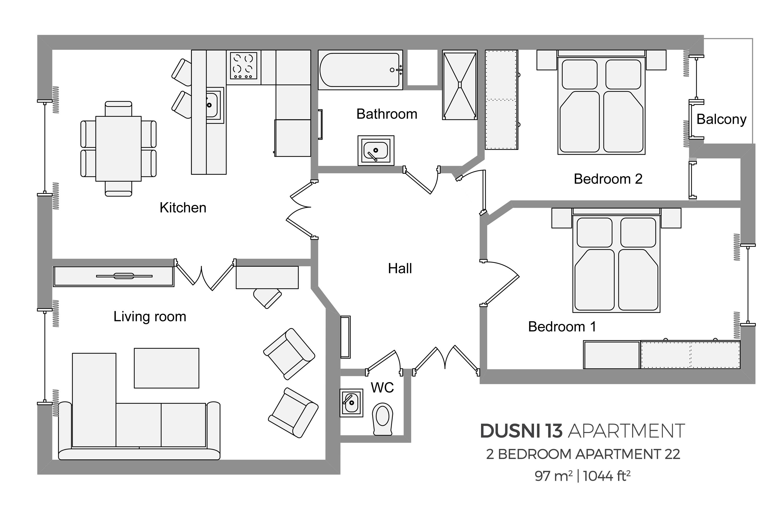 Floorplan at Dusni 13 Apartment