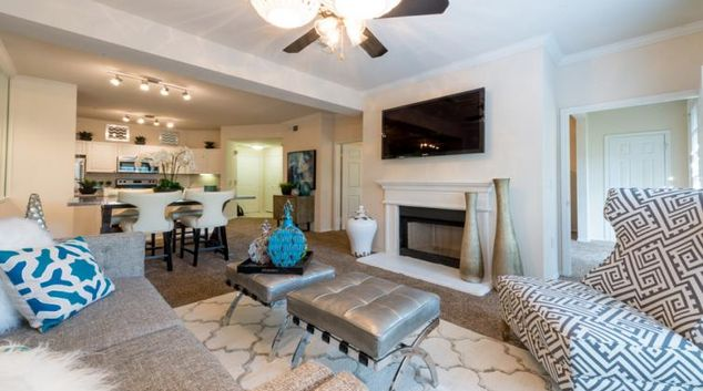 Living room at the North Field Apartments