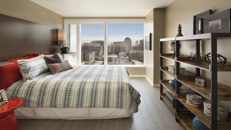 Bedroom at the Solaire Apartments
