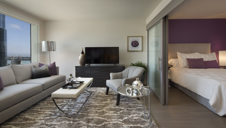 Living room at the Solaire Apartments