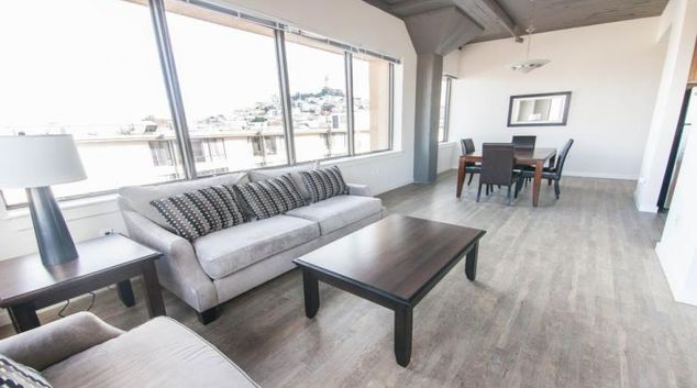Living room at the North Point Apartments
