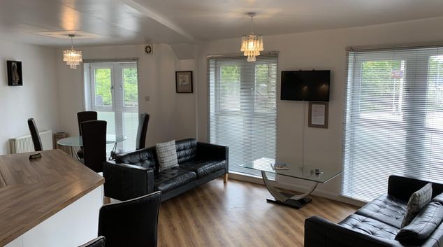 Open plan living area at Caledonian Apartments