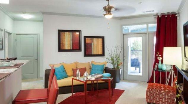 Living room at Amli Quadrangle Apartment