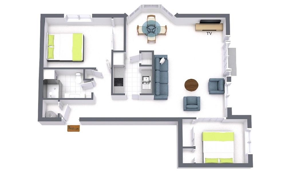 Floorplan at Spacious living area at Wellington Mews