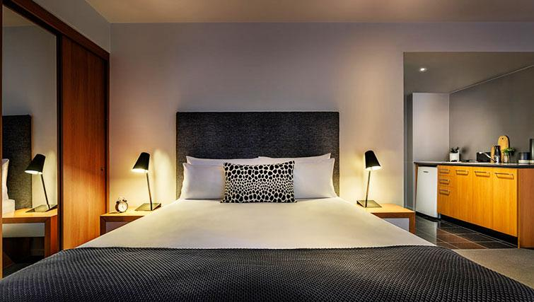 Double bed at Little Bourke Apartments