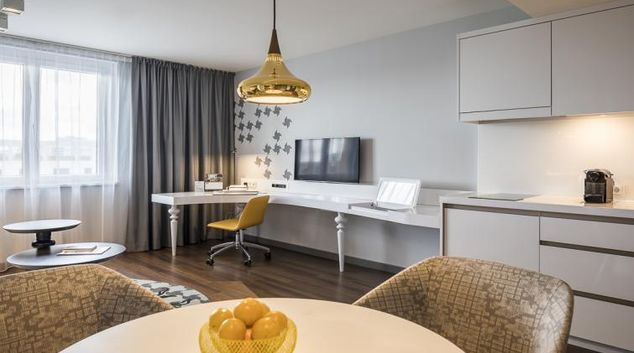 Living room at Europa-Allee Apartments