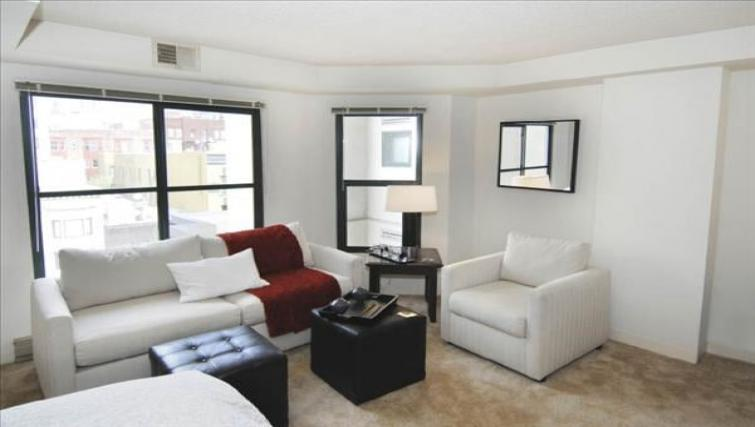 Living room at the Geary Courtyard Apartments