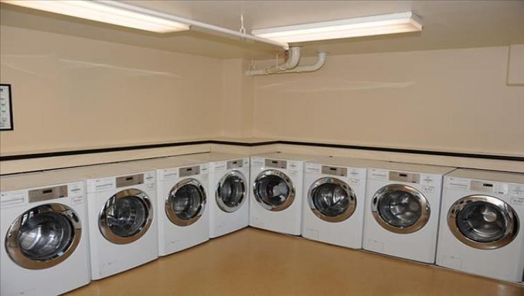 Laundry room at the Geary Courtyard Apartments