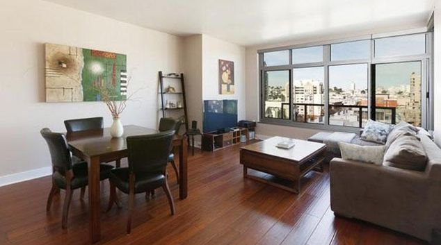 Living room at the Tower 737 Apartments