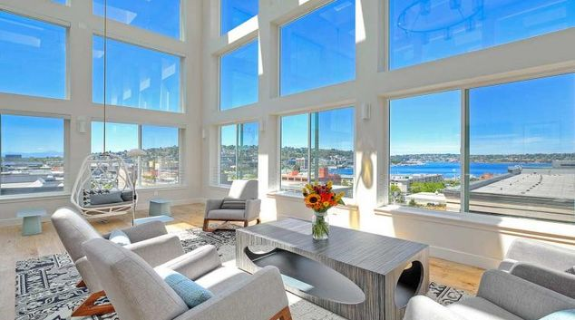Living room at AMLI South Lake Union Apartment, South Lake Union, Seattle