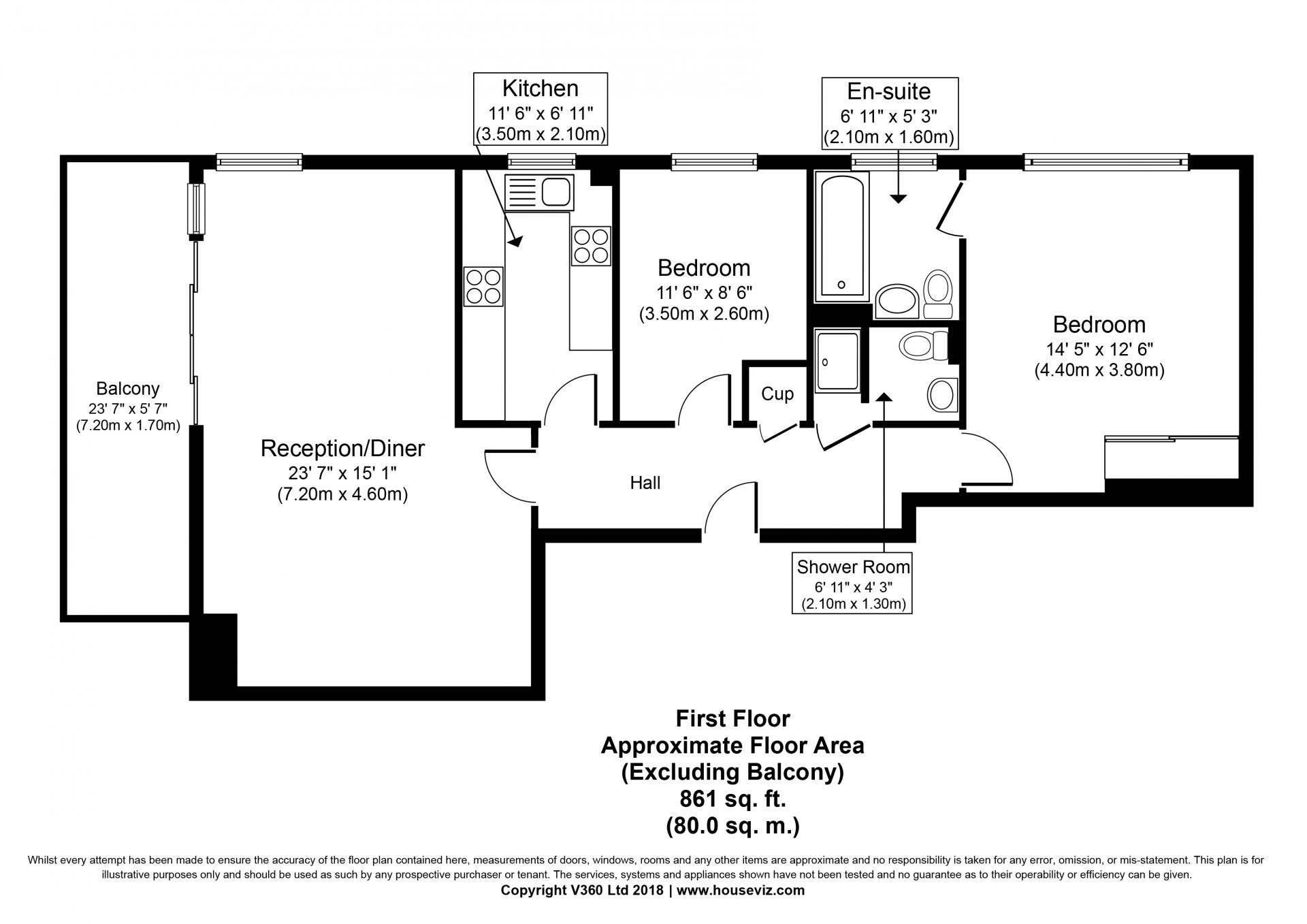 2 bed floor plan  at the Hyde Park Gate Apartments