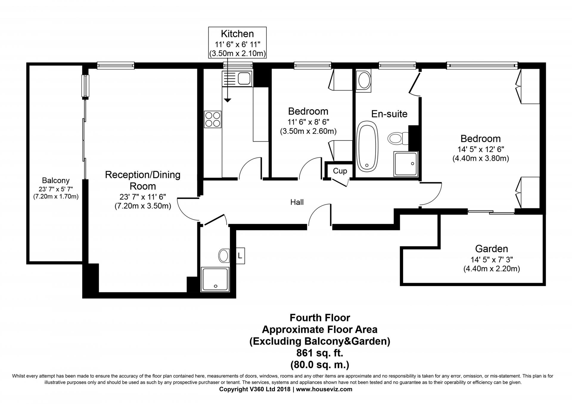 Luxury 2 bed floor plan at the Hyde Park Gate Apartments