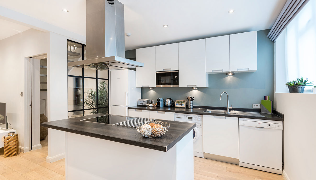 Large kitchen at Hyde Park Gate Apartments
