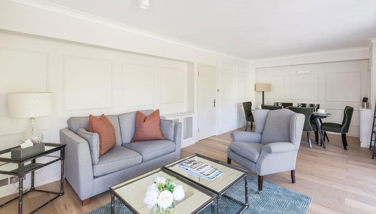 Arm chair at Hyde Park Gate Apartments