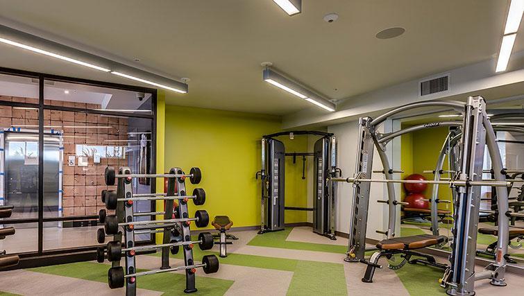 Fitness centre at Juxt Apartments