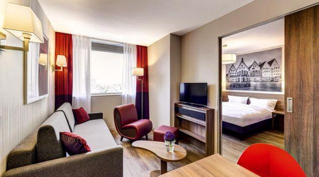 Living room at Adagio Frankfurt City Messe Apartments