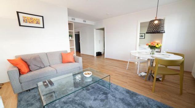 Living room at Damsgård Apartments