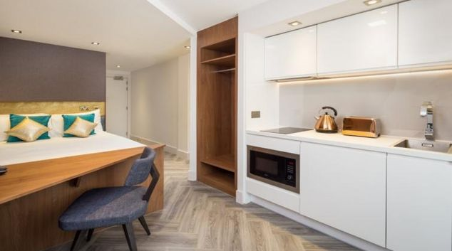 Kitchen at the Roomzzz London Stratford