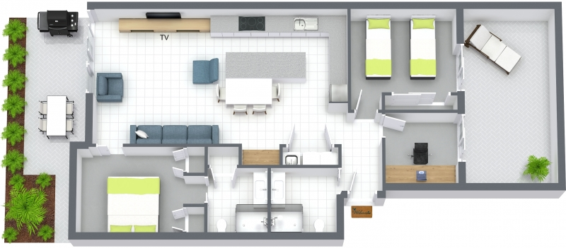 Floor plan at The Residence Apartment