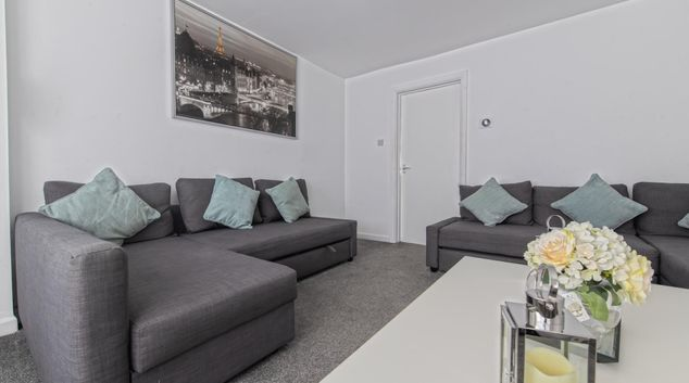 Living Room at Throstle House Serviced Apartment, Middleton, Leeds