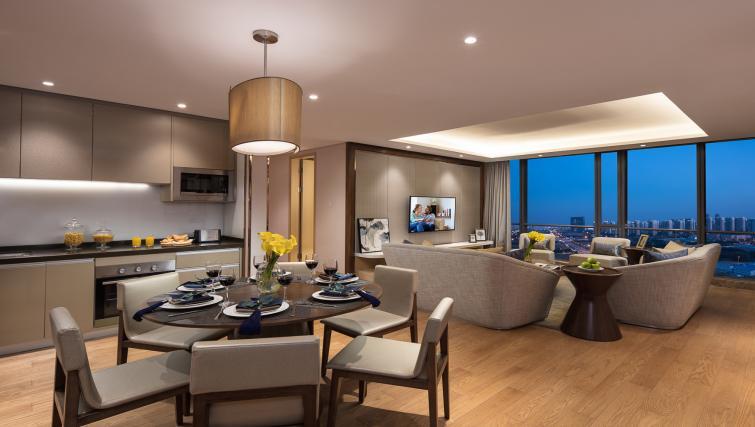 Living room at Somerset Baitang Suzhou Apartments