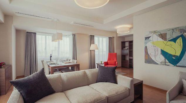Living room at Oakwood Residence Shinagawa