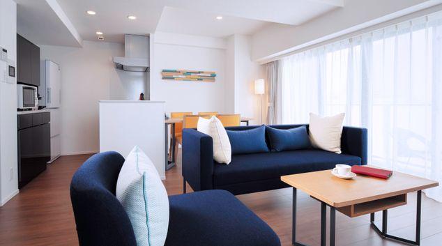 Living area at Oakwood Apartments Nishi-Shinjuku