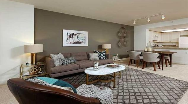 Living room at Avalon at Gallery Place Apartments
