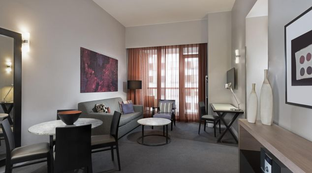 Living room at Adina Apartment Hotel Berlin Checkpoint Charlie