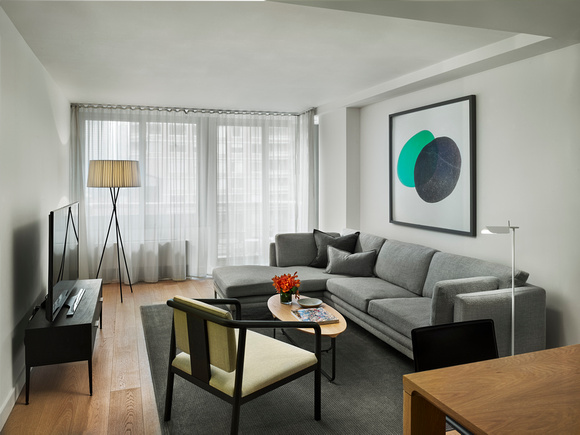 Living room at AKA United Nations, Midtown East, New York
