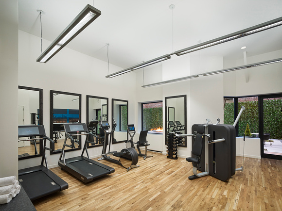Fitness centre at AKA United Nations, Midtown East, New York