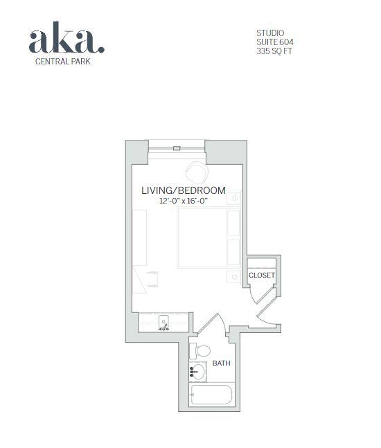 Studio floor plan at AKA Central Park, Midtown East, New York