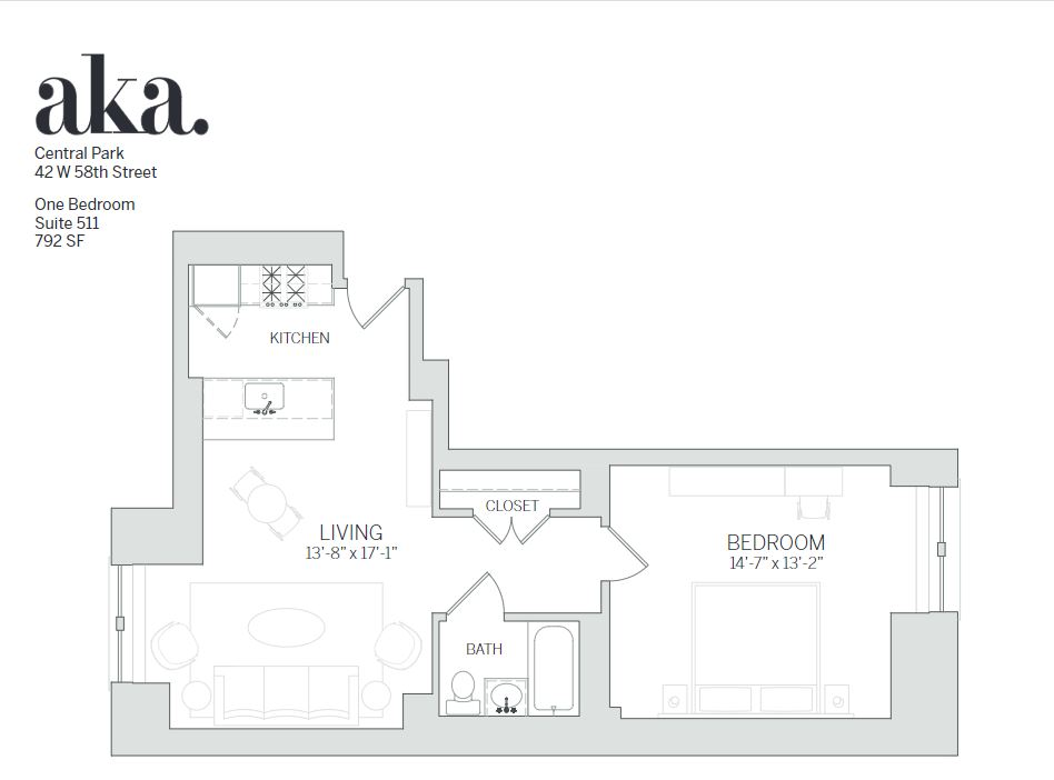 One bed floor plan at AKA Central Park, Midtown East, New York