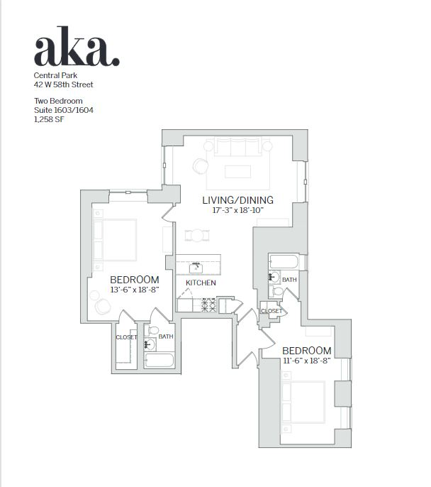 Two bedroom floor plan at AKA Central Park, Midtown East, New York