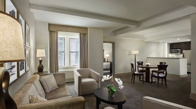 Living room at AKA Central Park, Midtown East, New York