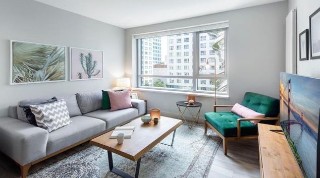 Living room at 33 8th Street SoMa Apartment