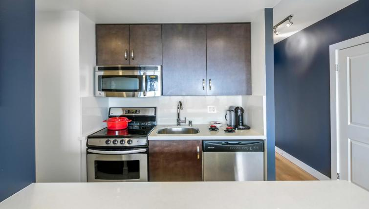 Kitchen facilities at 899 Pine Street Serviced Apartments
