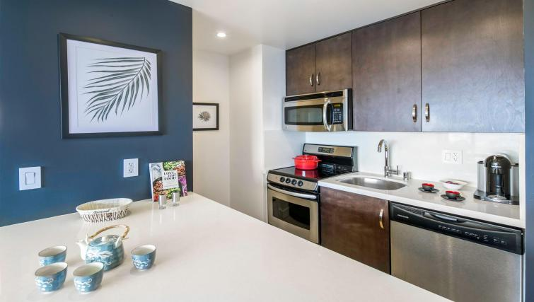 Modern kitchen at 899 Pine Street Serviced Apartments