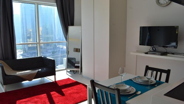 Living area at West Avenue Tower Apartments