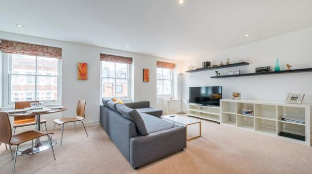 Living room at Foley Street Apartments