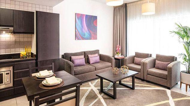 Living area at Citadines Metro Central Dubai Apartments