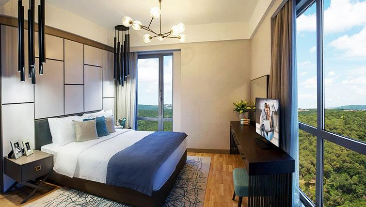 Bright bedroom at Somerset Maslak Istanbul Apartments