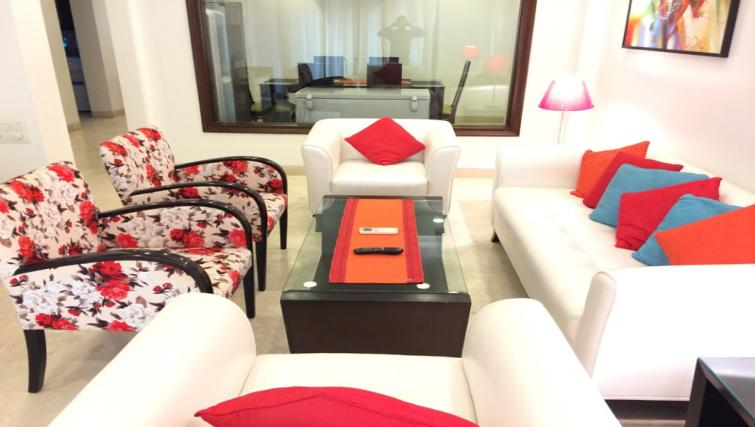 Stylish living area at  Saket Serviced Apartments