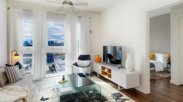Living area at the Potrero Apartments
