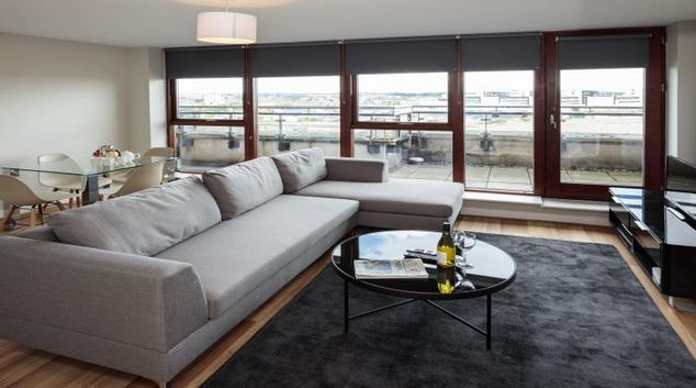 Living room at Castleforbes Square Apartments